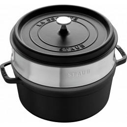 Staub Cocotte Round - Steamer 26 cm Black 40510-606
