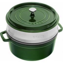 Staub Cocotte Round - Steamer 26 cm Basilic Green 40510-603