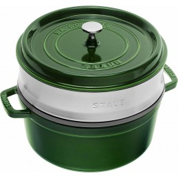 Staub Cocotte Tonda - Vaporiera 26 cm Verde Basilico 40510-603