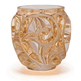 Lalique Tourbillons Small Vase Gold Luster Crystal Ref. 10543800
