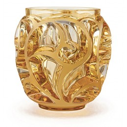 Lalique Tourbillons Small Vase Amber Crystal Ref.10571300