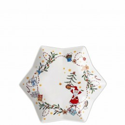 "Hutschenreuther Tray Star-Shaped 24 cm ""Tomorrow comes Santa Claus"""