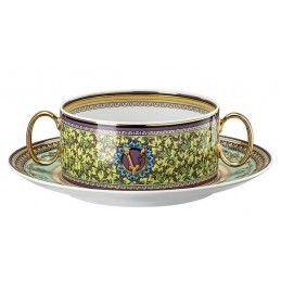 Versace Rosenthal Barocco Mosaic Creamsoup Cup with Saucer