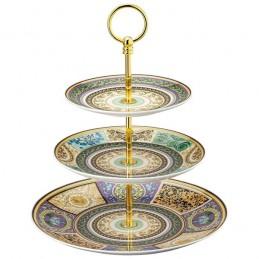 Versace Rosenthal Barocco Mosaic Etagere 3 Pcs