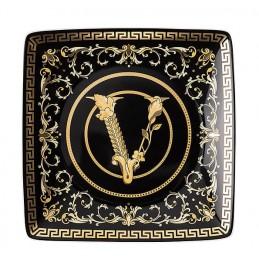 Versace Rosenthal Virtus Gala Black Square Bowl Flat 12 x 12 cm