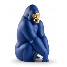 Lladrò Gorilla Figurine Blue-Gold. Limited Edition Ref. 01009403