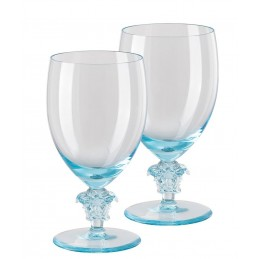 Versace Rosenthal Medusa Lumiere Teal 2nd Edition Set of Two Water Glass