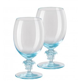 Versace Rosenthal Medusa Lumiere Teal 2nd Edition Set of Two Red Wine Glass