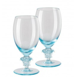 Versace Rosenthal Medusa Lumiere Teal 2nd Edition Set of Two White Wine Glass