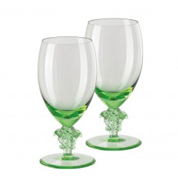 Versace Rosenthal Medusa Lumiere Mint 2nd Edition Set of Two White Wine Glass
