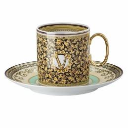 Versace Rosenthal Barocco Mosaic Coffee Cup & Saucer 4 Tall