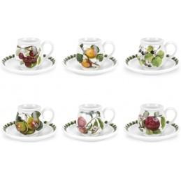 Portmeirion Pomona Set 6 Espresso / Mocha Coffee Cup with Saucer